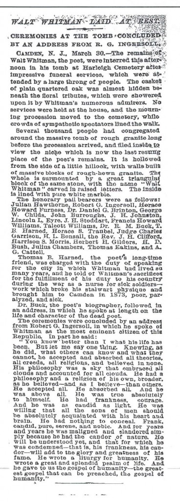 Whitman Funeral Article